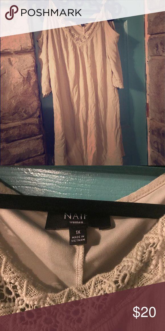 Plus size mini dress. Cold shoulder. Sage green Cold shoulder mini dress. Light weight. Lined. Light sage green. Embroidery at neck. Super sweet. Romantic vibe. Nais Dresses Mini