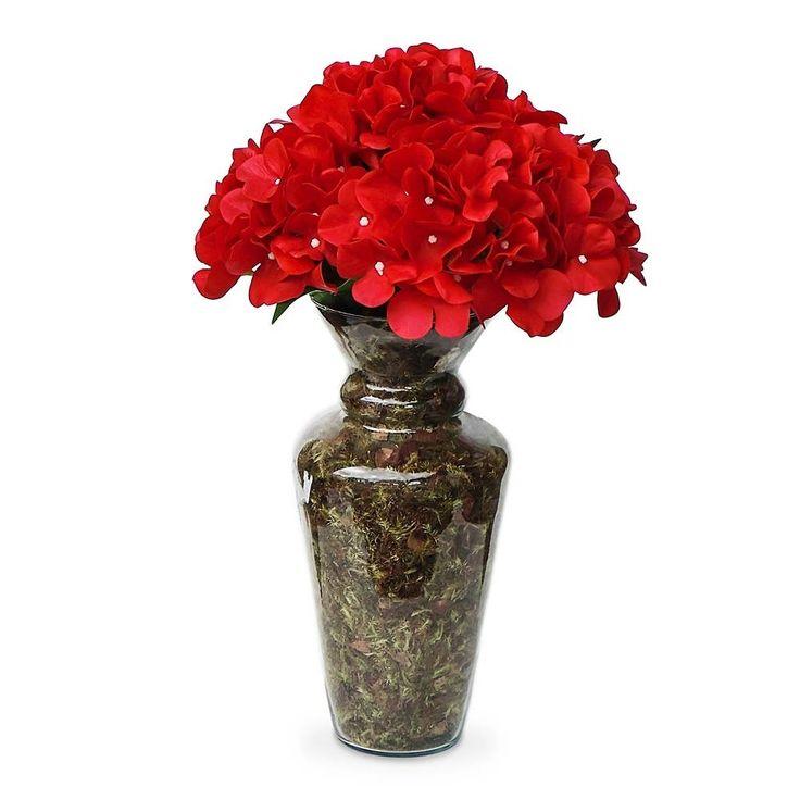 Arranjo de flores artificiais hortênsia vermelha no vaso de vidro