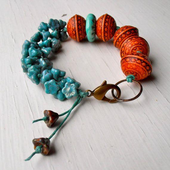 handmade beaded bracelet, bead bracelet, chunky bracelet, beaded bracelet, orange jewelry, chunky jewellery