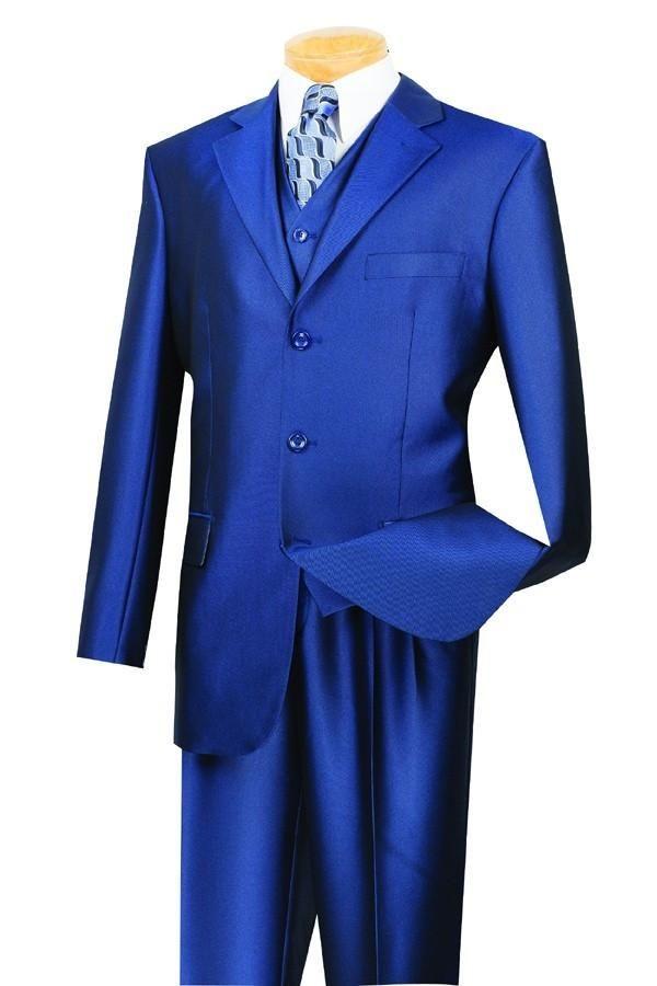 VINCI CLASSIC MEN'S DRESS SUITS WITH VEST 3 PIECE 3 BUTTONS SHARKSKIN SUIT BLUE NEW