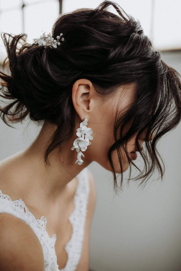 Braut Ohrringe, Ohrhänger mit Blüten aus Porzellan   Else   Short ...