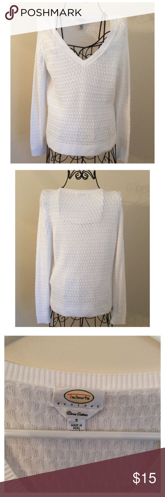 Light Weight Pure White Talbot's Sweater Great condition.  100%  Cotton Talbots Petites Sweaters V-Necks