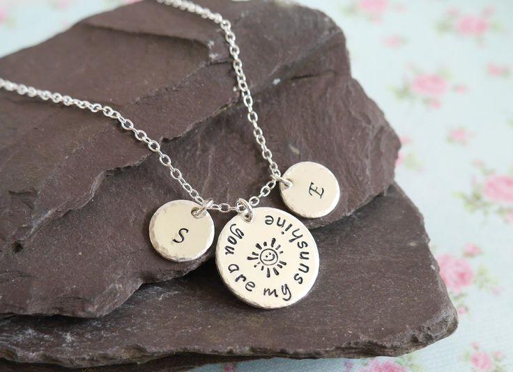 You Are My Sunshine Personalised Necklace, Christmas Gift Idea for Wife, Personalized Childrens Initials Pendant, Birthday Present