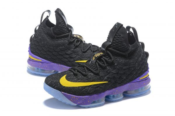 2018 Men s Nike LeBron 15 Black Purple-Yellow Basketball Shoes in ... 224853858