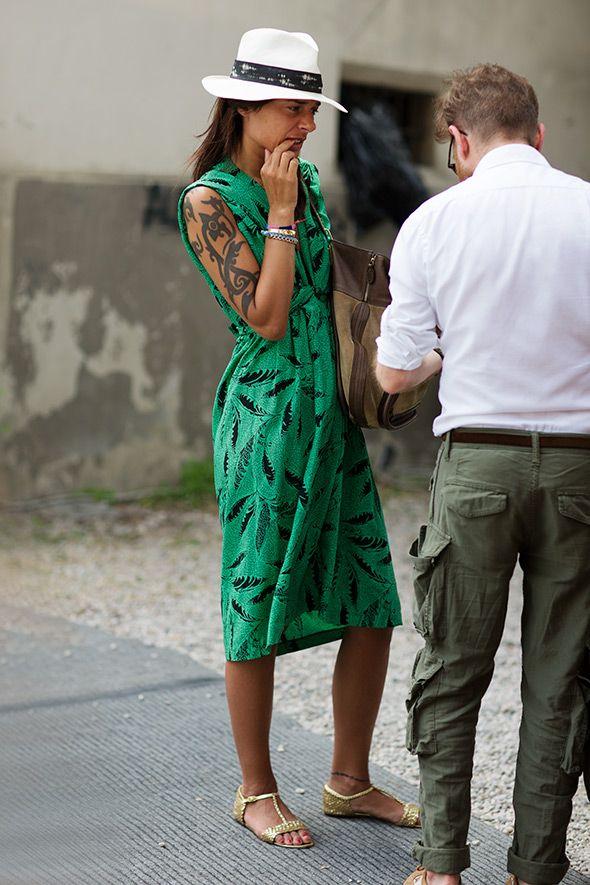 Green printed summer dress. By The Sartorialist.Street Fashion, Summer Hats, Summer Style, Street Style, Fall Outfit, Greendress, The Sartorialist, The Dresses, Green Dresses