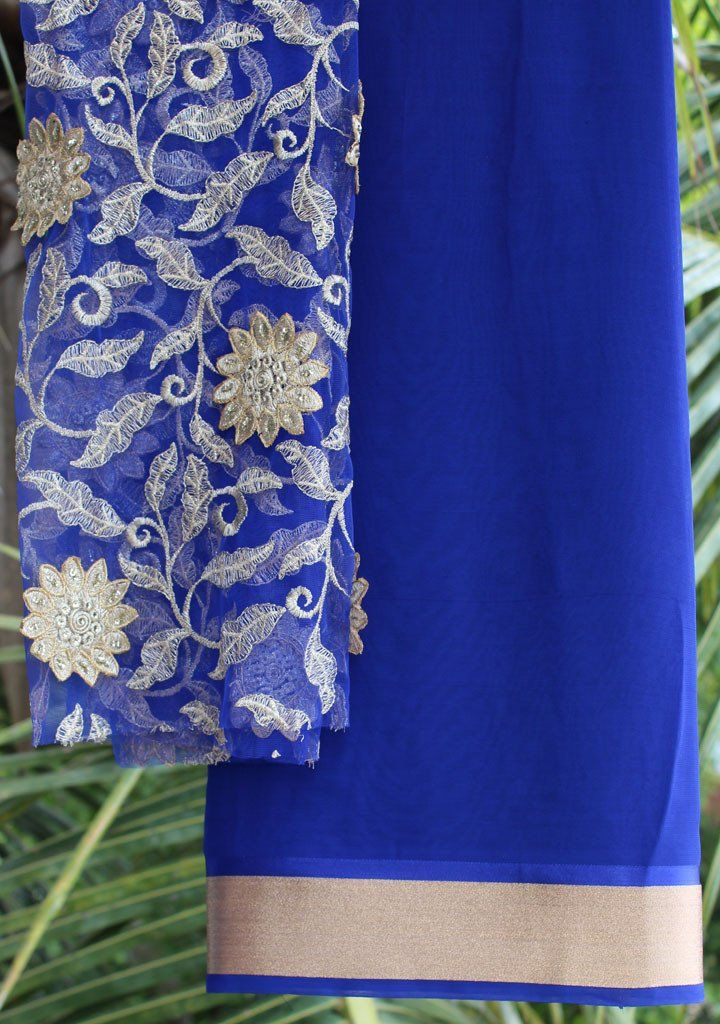 Royal blue saree with embroidered blouse piece