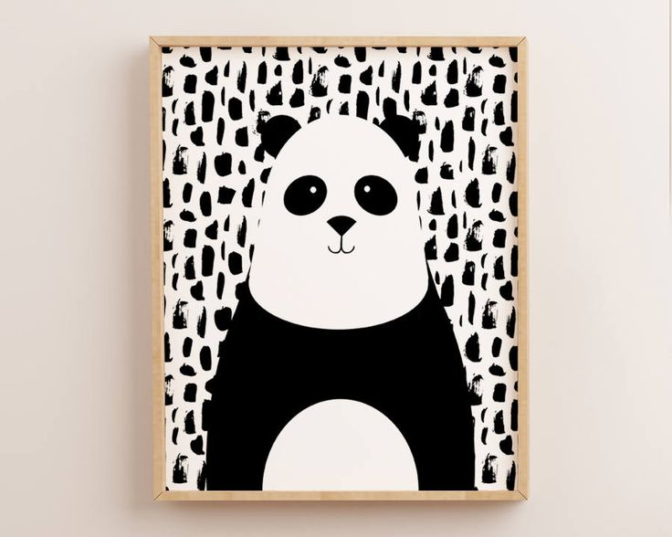 Panda Print, Panda Wall Art, Scandinavian Panda, Nursery Wall Art, Nursery Wall Decor, Kawaii Panda,Printable Panda, Black and White, Panda by AdornMyWall on Etsy