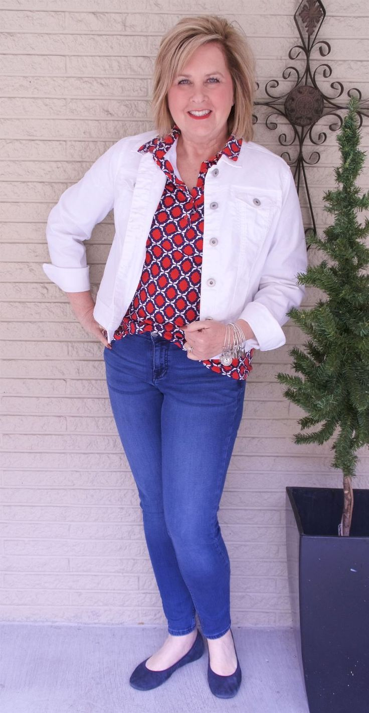 50 IS NOT OLD | HOW TO WEAR A WHITE DENIM JACKET - FASHION OVER 40 | Fashion for the everyday woman