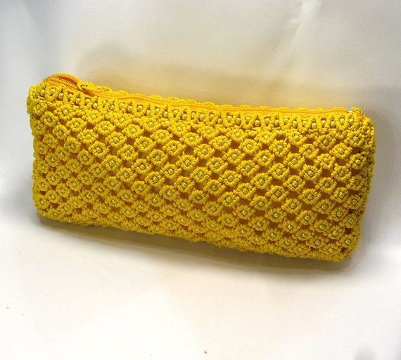 Yellow beaded macrame bag Sunny by makrame on Etsy