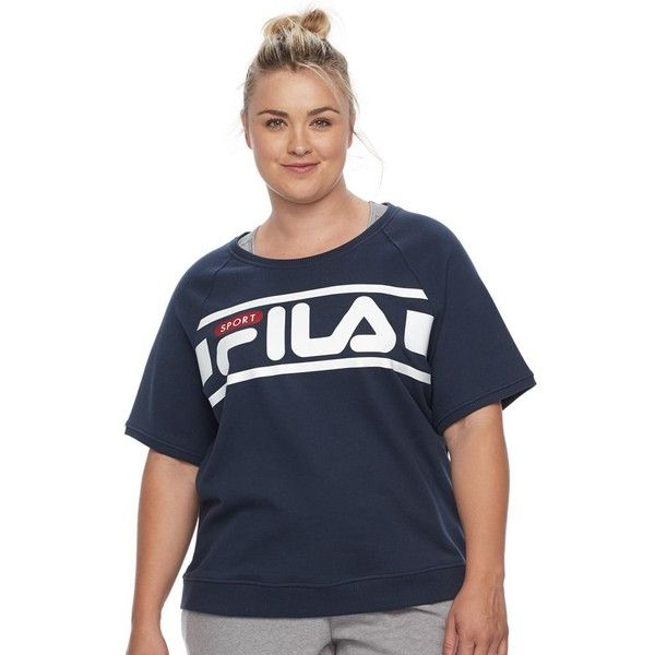 Plus Size FILA Sport® Logo Sweatshirt ($24) ❤ liked on Polyvore featuring plus size women's fashion, plus size clothing, plus size tops, plus size hoodies, plus size sweatshirts, blue, plus size, scoop neck sweatshirt, plus size elbow sleeve tops and logo sweatshirts