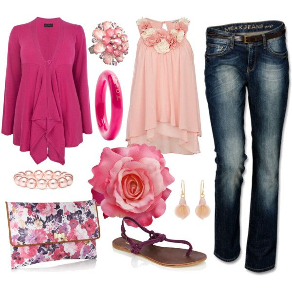 PINK and PURPLE!, created by tara-fays on Polyvore: Fashion Pink, Purple Not, Color, Pink Tops, Floral Casual, Fashion Chick, Clothing Outfits, Polyvore Fashion, Pink Shirts