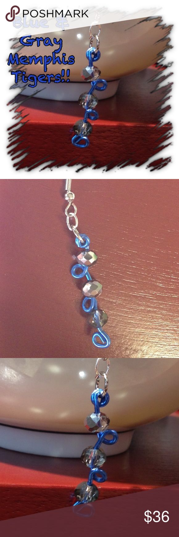 Custom college earrings tn memphis penn Duke lsu University of Memphis blue & gray earrings dangle. New and never used. University of Memphis blue wire wrapped with silver beads. This is handcrafted homemade with love and very unique. No one else will have this beautiful one of a kind jewelry. Long 2.75in earrings. Silver glass beads with silver earring hook attached. ❤️CUSTOMIZE NOW! Choose wire color and bead color! Just message me❤️ Jewelry Earrings