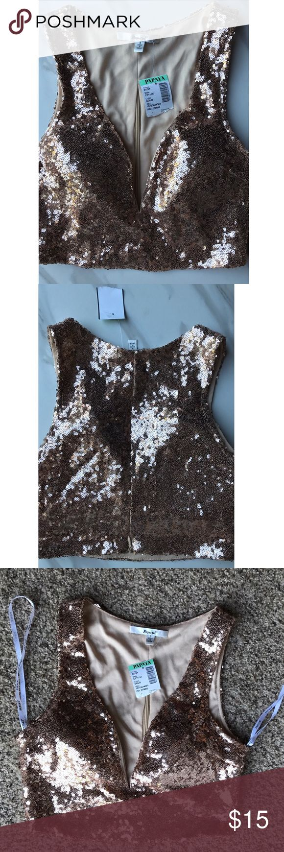 NWT - Small Gold sparkle crop top New-never worn gold spark crop top size small Papaya Tops Crop Tops