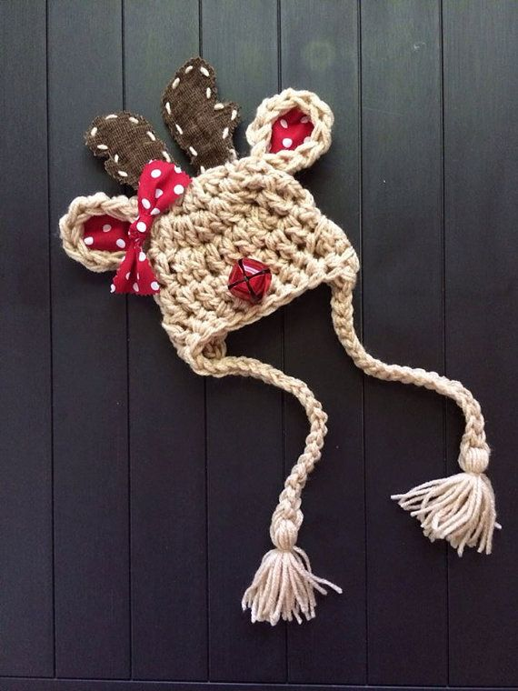 Reindeer Hat, Boys or Girls, Fabric Antlers, Photo Props, Christmas Outfit Clothing, Newborn Infant Rudolph, Real JINGLE BELL Nose