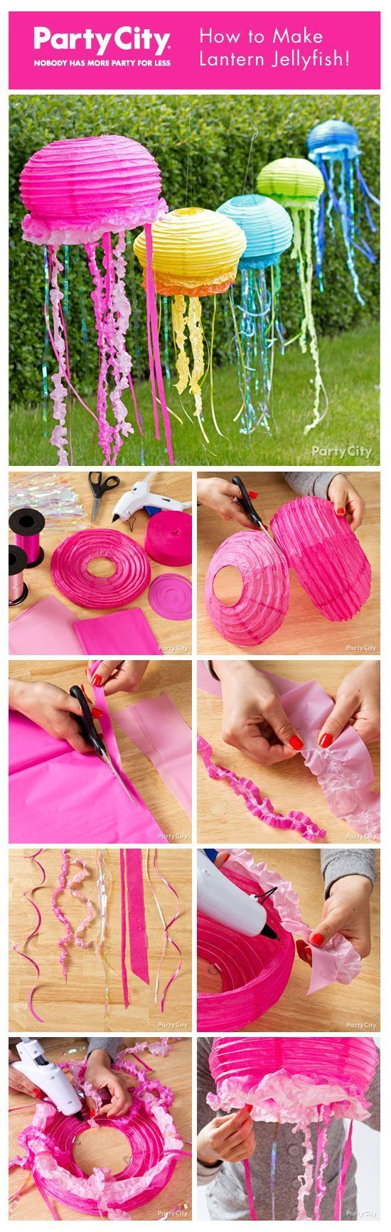 floating jellyfish from paper lanterns - so cute for a mermaid or under the sea theme birthday party!
