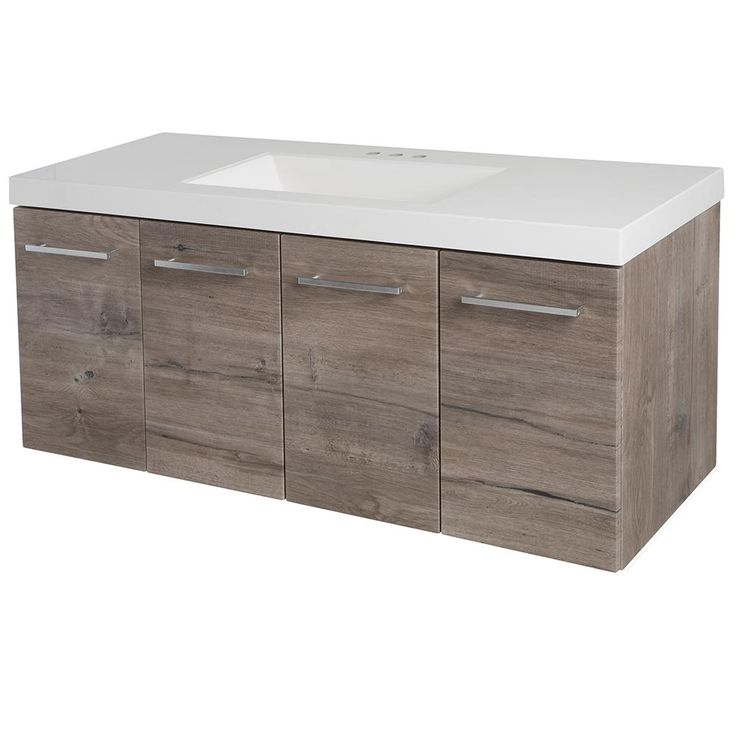 Domani Stella 48.5 in. W x 18.75 in. D Vanity in White Washed Oak with Cultured Marble Vanity Top in White with White Basin-SL48P2-WO - The Home Depot