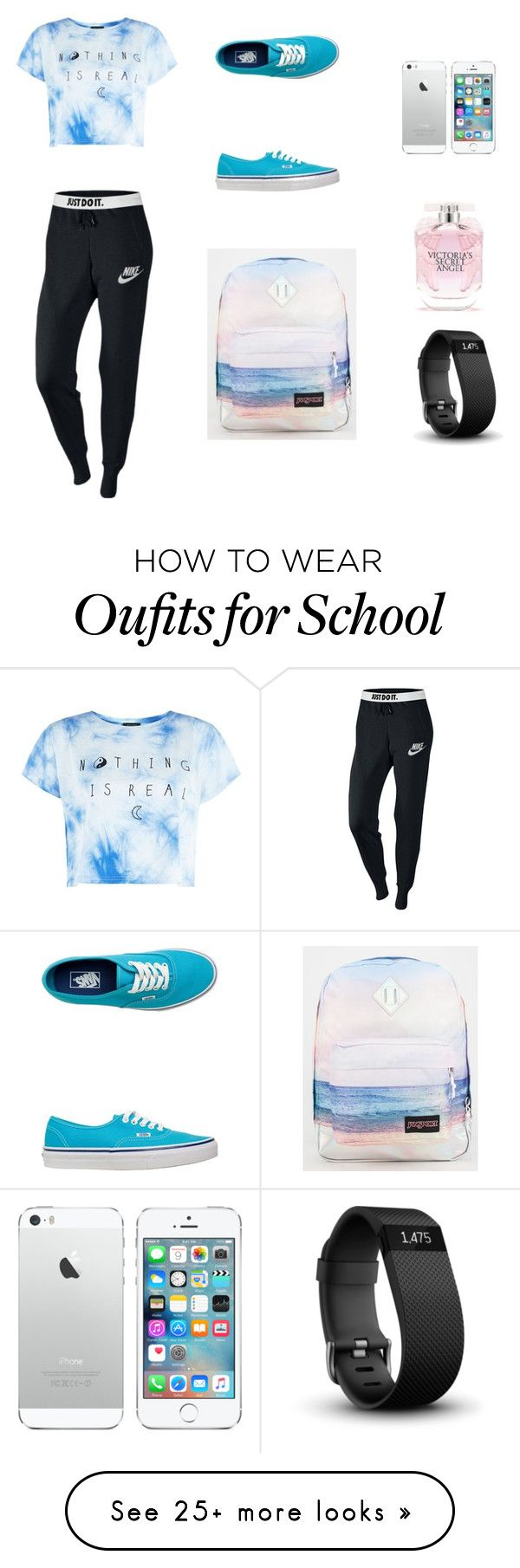 """Keen 4 school"" by fashionalien7 on Polyvore featuring NIKE, Vans, JanSport, Victoria's Secret and Fitbit"
