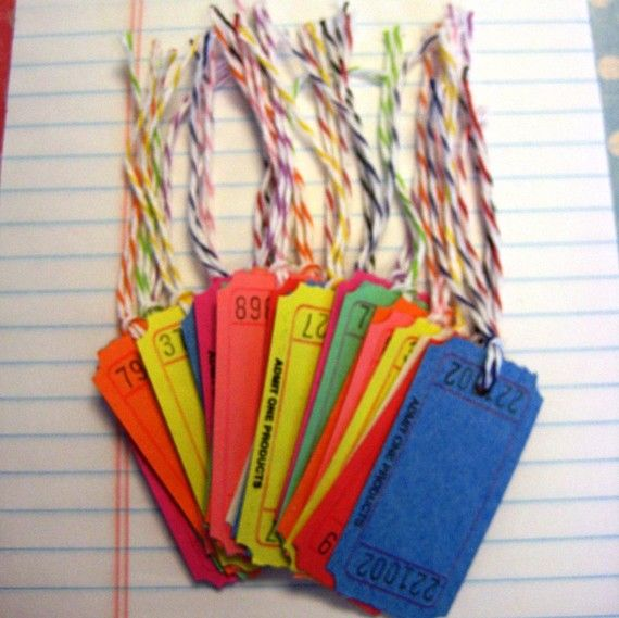 Oh my gosh I never thought of this. Use those rounds of tickets you can find at WalMart as Gift tags or Price Tags.