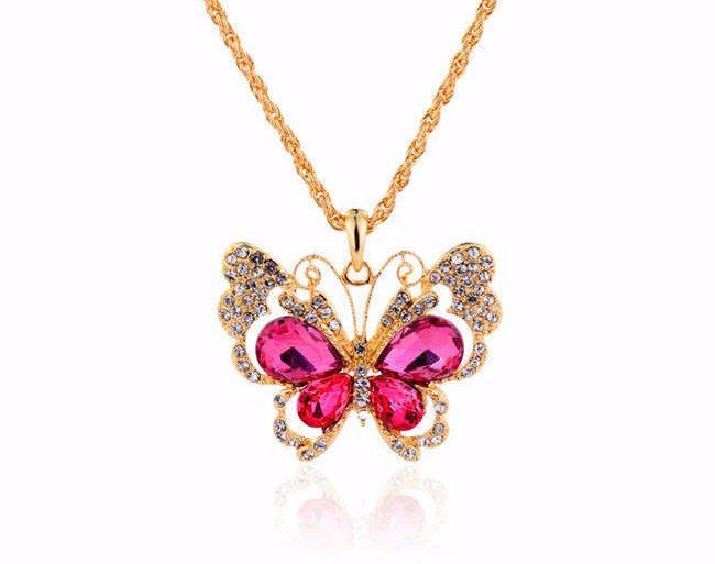 [201]18K Gold Plated Rhinestones Crystal Butterfly Pendant Necklace