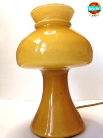 Mid-Century Glass Mushroom Lamp French Atomic era Yellow