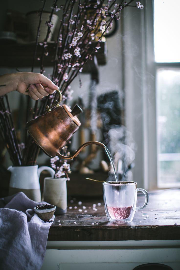 Hibiscus Vanilla Latte http://adventuresincooking.com/2017/04/hibiscus-vanilla-latte.html
