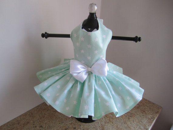 Hund Kleid XS Mint Sternen von Ninas Couture von NinasCoutureCloset
