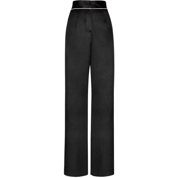 Agent Provocateur Classic Pyjama Bottom Black ($150) ❤ liked on Polyvore featuring intimates, sleepwear, pajamas, nightwear, pyjamas, silk pjs, silk pajama bottoms, agent provocateur, black silk pajamas and silk pajamas