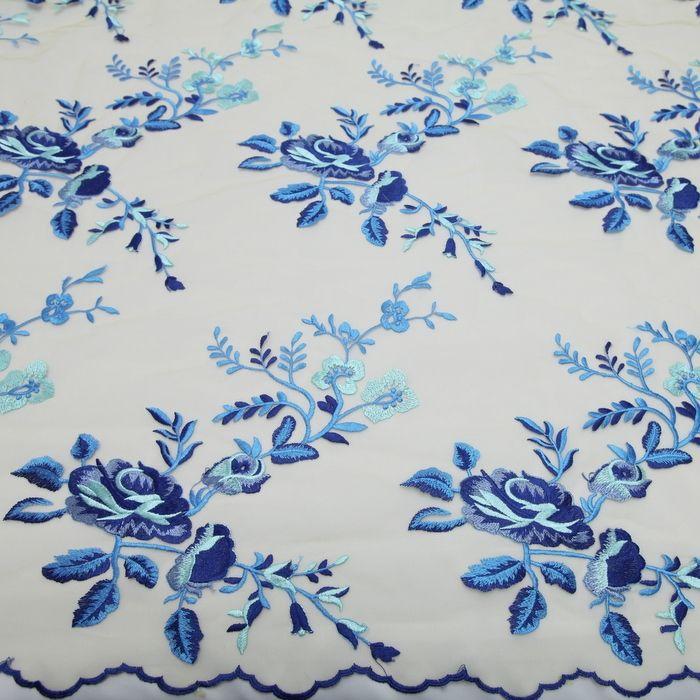 Tecido tule bordado flores azul/tiffany - Maximus Tecidos   Loja Online