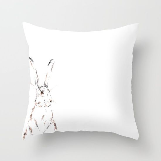 Hare Today III Throw Pillow by Art By Chrissy Taylor - $20.00