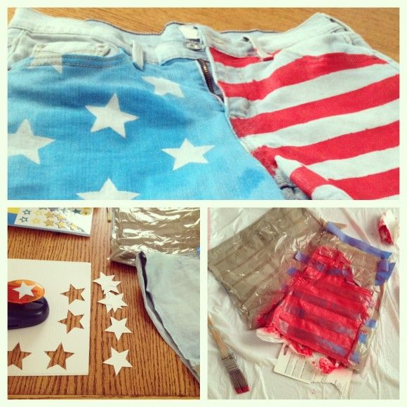 Creative Spray Paint Ideas Part - 18: DIY American Flag Shorts. So Cute. Fabric Spray Paint, Duct Tape Sheets,