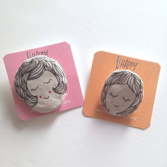Mom & Daughter Clay Brooch Set  Pair Of Brooches  by HappyMarker #mothersday #gift #for #mom #brooch #clay #illustration #drawing #pretty #mother #daughter