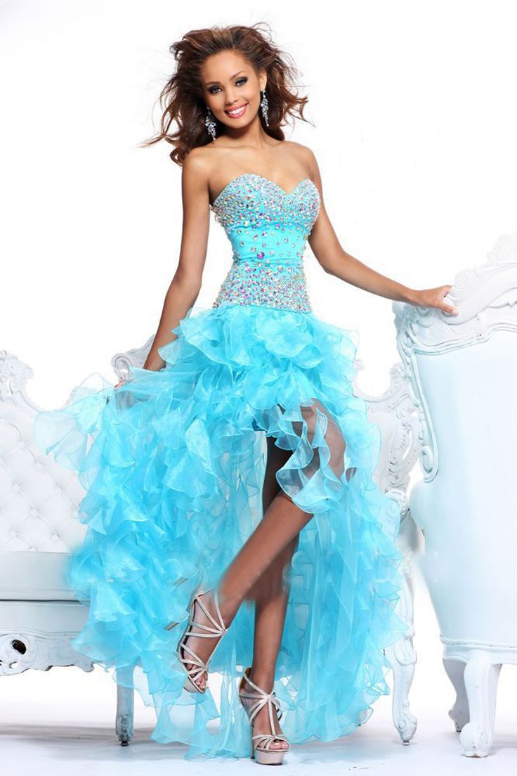 MZ0120 Blue/Pink Organza Sweetheart Neckline Rhinestoned High Low Prom  Dresses 2014 Hot Sales $139.89
