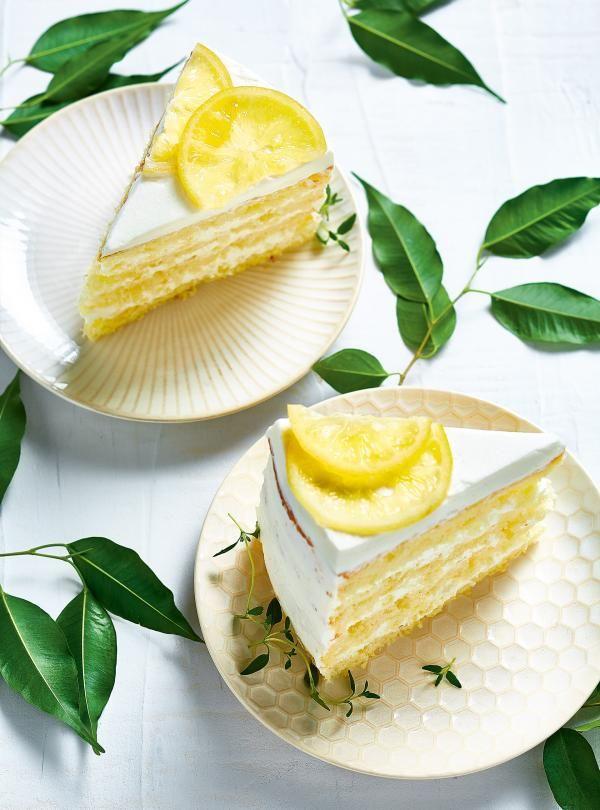 Gâteau chiffon au citron avec crème chantilly