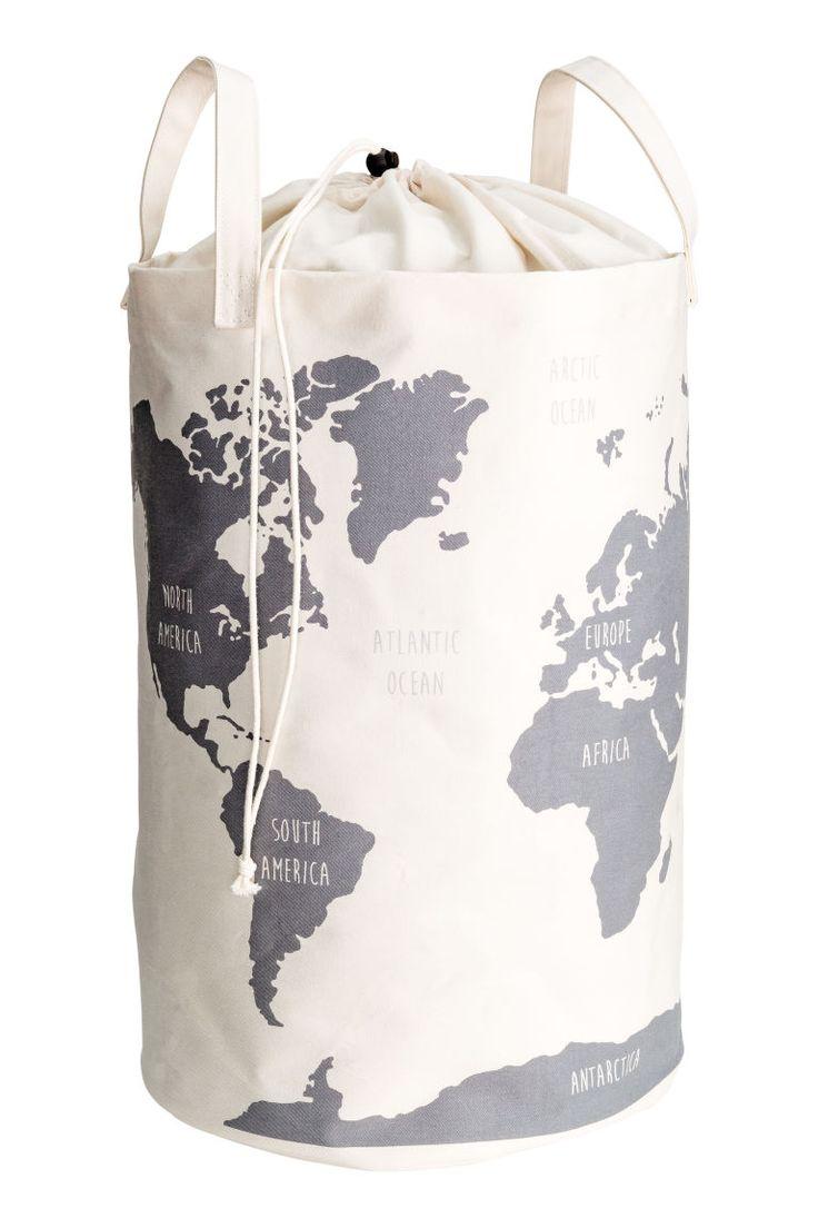 Förvaringskorg med världskarta - Vit - Home All   H&M SE 1