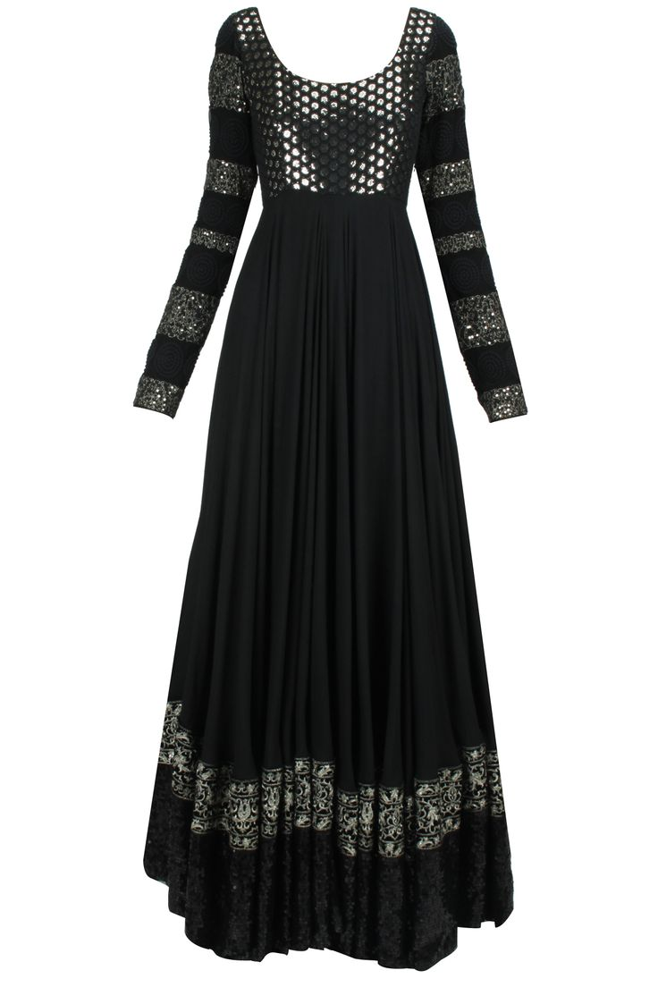 Black flower and sequins embroidered flower jalabiya anarkali available only at Pernia's Pop-Up Shop.
