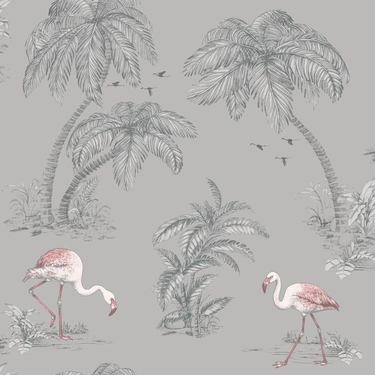 12SW381 Pink Flamingo on Grey