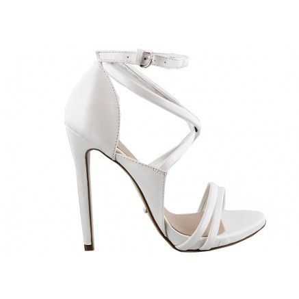 A white pearl leather high heel featuring cross over straps.   Leather upper and…