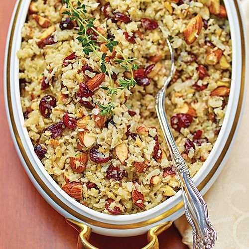 Roasted Cranberry Almond Cauliflower Rice (add some shredded roasted mushrooms for wild rice color?)