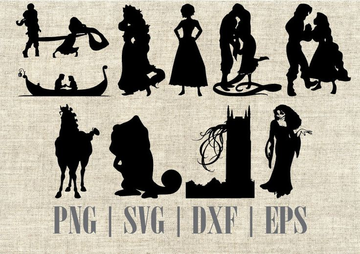 Tangled Rapunzel Silhouette SVG Cut File, Digital Clipart, Editable Vector by CartoonCliparts on Etsy https://www.etsy.com/listing/481054488/tangled-rapunzel-silhouette-svg-cut-file