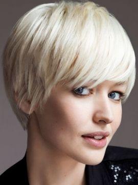 short white/blonde hair.