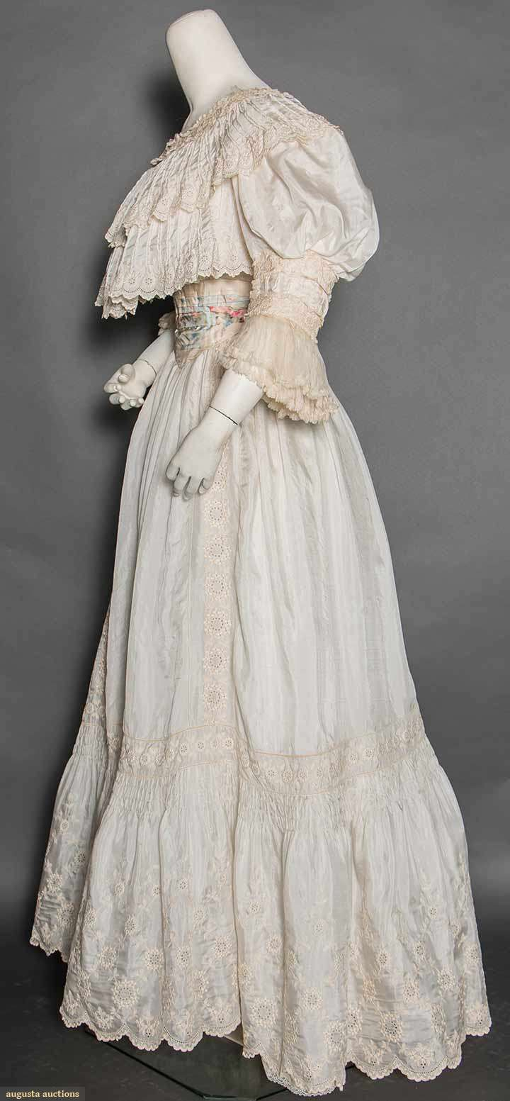 Ivory China Silk Tea Gown, Paris, 1890s, Augusta Auctions, April 8, 2015 NYC, Lot 391