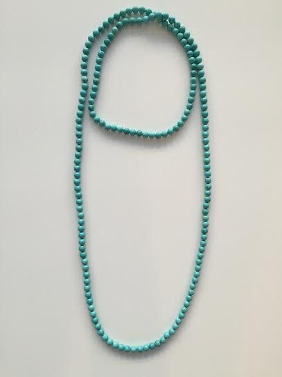 turquoise beads double wrap necklace