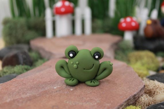 Polymer Clay Frog - Miniature Frog - Mini Clay Frog - Fairy Garden Accessory…