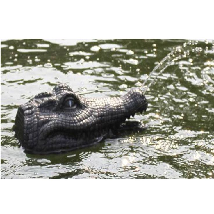 Floating crocodile head spitter pond ornament water for Fish pond features