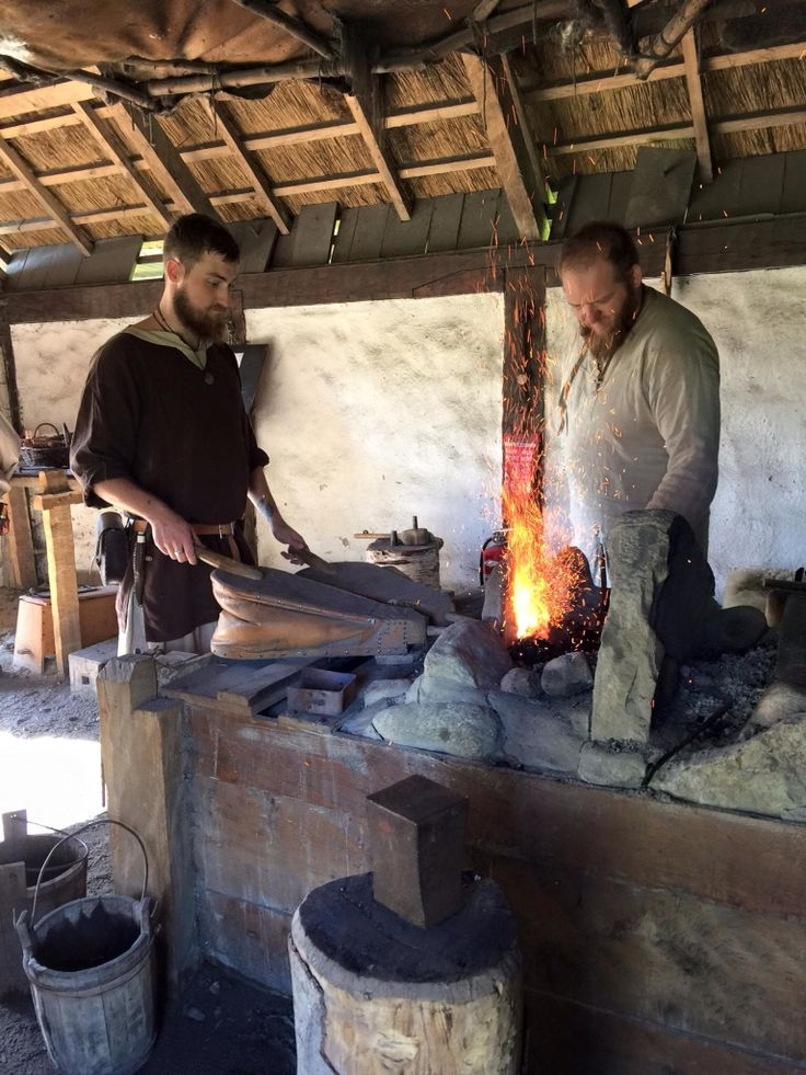 my great friend and viking brother forging with me (left)  this is at Trelleborg in Slagelse Denmark