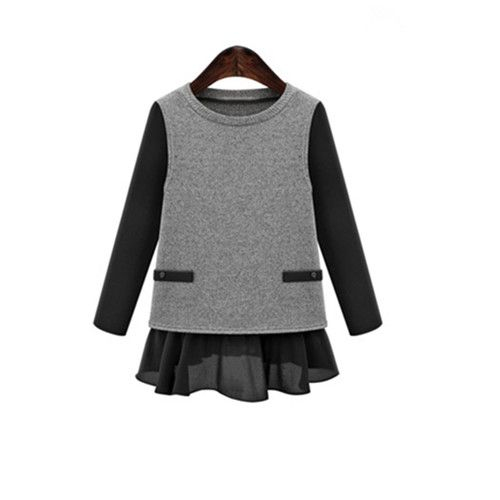2017 New Arrival Chiffon Patchwork Knitted Tops Fashion American and European T shirt Big Size 5XL Contrast Color Women Shirts