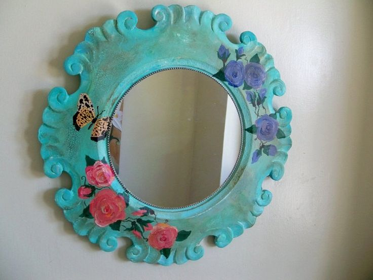 Shabby chic mirror, bohemian decor, round wall mirror, cottage mirror, decorative, floral, hand painted, roses wall art, gypsy rose mirror by Georgiasita on Etsy https://www.etsy.com/listing/286512573/shabby-chic-mirror-bohemian-decor-round