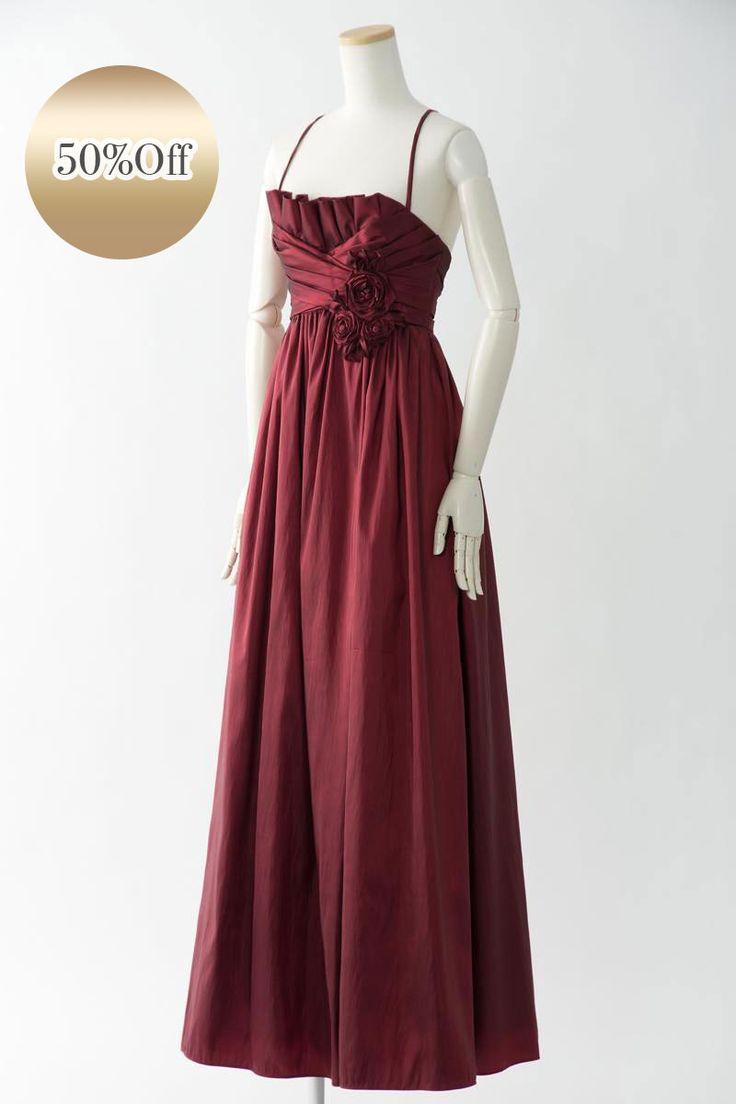 Sale, Instock Bridesmaid Dresses.  Red, Burgundy  Floor Length & Knee Length Chiffon Dress. Mother of Bride, #ブライズメイドドレス   合計金額 ¥20,000-(税抜)以上で送料無料  すぐにお届け可能な限定1着のストックドレス  光沢と張りのあるタフタ生地がゴージャスなロングドレス ウエストにデザインされたコサージュがワンポイントフォーマルなパーティやお色直し用のカラードレスとしてもお勧めの1着です 定価36,900円の50%オフにて限定販売です  販売ドレスカラー: バーガンディー(画像色)  USサイズ4(バスト87.5cm/ウエスト67.5cm/ヒップ93cm)の方向け ドレス実寸サイズ-身幅89cm/ウエスト68cm/ヒップ95cm/着丈128cm  【セールドレス色別タグ】 #赤・ピンク系  #ブルー・パープル・グリーン系  #イエロー・コーラル系  #アイボリー・ベージュ系  #ブラック・ネイビー