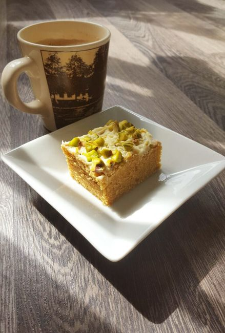 Blondies Recept - Blondies met pistachenootjes