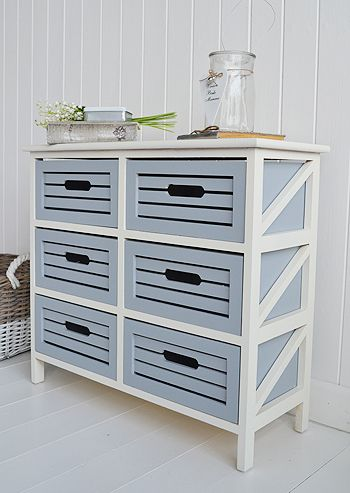 Side vie to show the colours of the Beach House furniture. Bathroom decorating ideas for a coastal, nautical or beach house style. Order furniture and accessories online